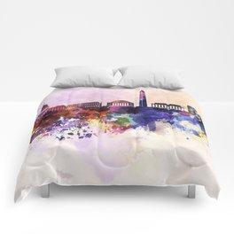 Washington DC skyline in watercolor background  Comforters