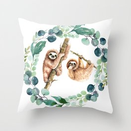 Elegant Tropical Watercolor Eucalyptus Wreath Cute Slots Throw Pillow