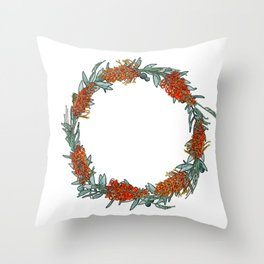 Australian Native Flower Wreath Throw Pillow