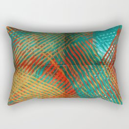 Red and Turquoise Weave Rectangular Pillow