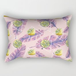 Banana leaf and lemons Rectangular Pillow