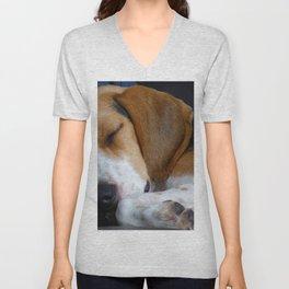 Beagle Dog Sleeping Unisex V-Neck