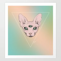sphynx Art Prints featuring SPHYNX. by paintparamore