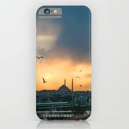 Birds at Sunset | Istanbul Turkey Cityscape Night Skyline Beautiful Yellow and Orange Firey Sky iPhone Case