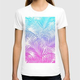 Modern pink teal tropical palm trees pattern T-shirt