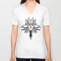 god V-neck T-shirts featuring GOD III by Mario Sayavedra