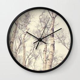 Winter Birch Trees Wall Clock