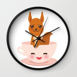 Cute Kawai pink cup with red squirrel Wall Clock