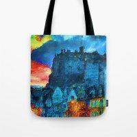 edinburgh Tote Bags featuring Edinburgh Evening by E.M. Shafer
