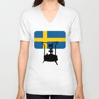 sweden V-neck T-shirts featuring Sweden flag | Pressure stove by mailboxdisco