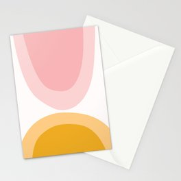 Abstract Shapes 43 in Mustard Yellow and Pale Pink (Rainbow Abstraction) Stationery Cards