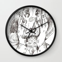 Sad Bloodhound Wall Clock