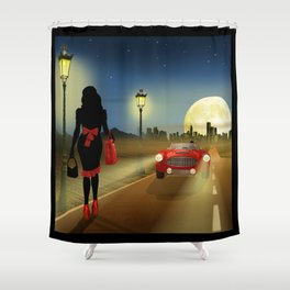 Woman on the road Shower Curtain