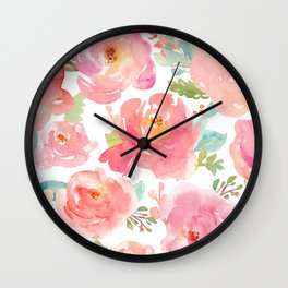 Pink Peonies Watercolor Pattern Wall Clock
