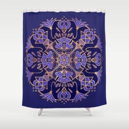 Lotus Mandala - Blue and Gold Shower Curtain