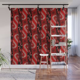 Red Curvy Stripes Wall Mural