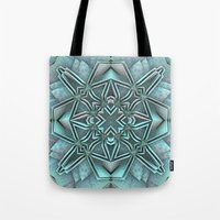 snowflake Tote Bags featuring Snowflake by Lyle Hatch