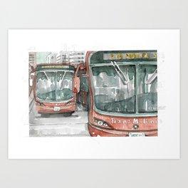 Urban traffic watercolor - Colombia Art Print