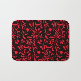Red and black floral pattern Bath Mat
