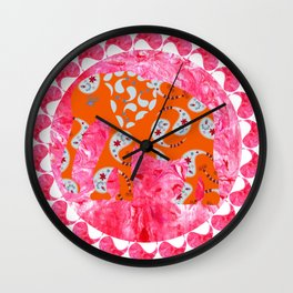 Elephant in pink marble  watercolor background Wall Clock