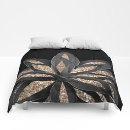 Gray Black Agave with Gold Glitter #1 #shiny #tropical #decor #art #society6 Comforters