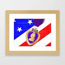 Flag and Purple Heart Framed Art Print