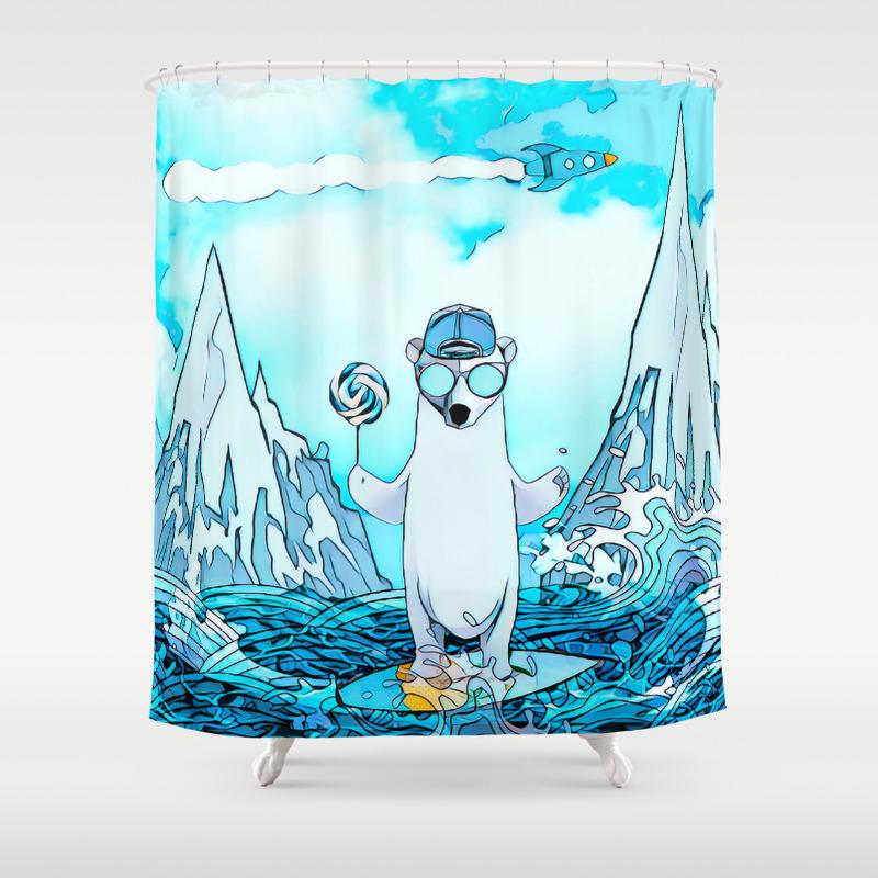 Polar Bear On The Surf Board Shower Curtain