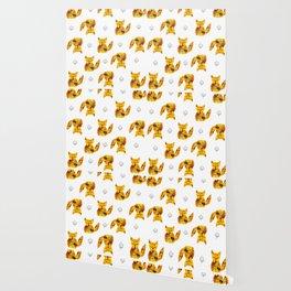 Pressed Flower Fox Print Wallpaper