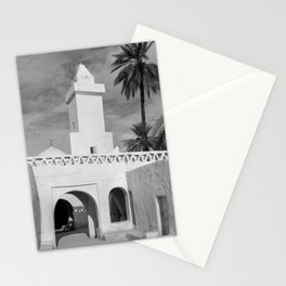 Ancient building with Palm tree in desert in black and white | Travel photography Stationery Cards