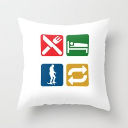 Snow Shoes Ice Skiing Snowboard Sledding Ski Jumping Ice Skii Eat Sleep Snowshoeing Repeat Gifts Throw Pillow