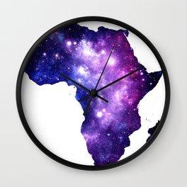 Africa : Purple Blue Galaxy Wall Clock