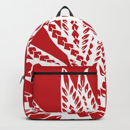 Red Polynesian Geometric Floral Chic Tribal Tattoo Backpack