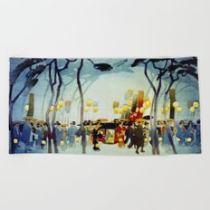 Japanese Covered Litter and Lanterns Beach Towel