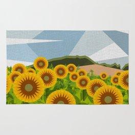 SUNFLOWERS (geometric flowers abstract) Rug