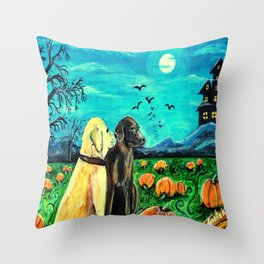 Dogs in Pumpkin Patch Throw Pillow