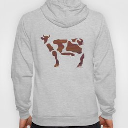 Cow Brown and White Print Hoody