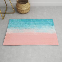 Pink Sea & Turquoise Landscape_Brush Strokes Abstract Horizon Rug