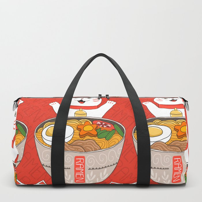 Liter of Ramen. Japanese soup and Manekineko cat. Duffle Bag