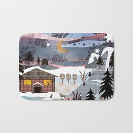 Digital illustration of Winter evening . Quilting. Patchwork . Bath Mat