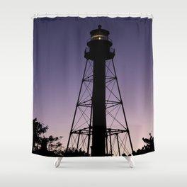 Sanibel Island Lighthouse Sunset Shower Curtain
