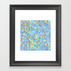 Contemporary Faux Gold and Blue Triangles Pattern Framed Art Print
