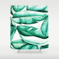 jungle Shower Curtains featuring Jungle by kristinesarleyart