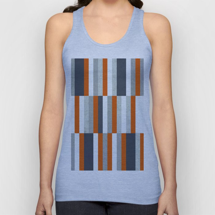 Orange, Navy Blue, Gray / Grey Stripes, Abstract Nautical Maritime Design by Unisex Tank Top