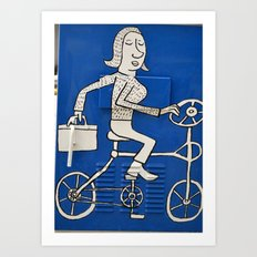 Blue Bike Day Art Print
