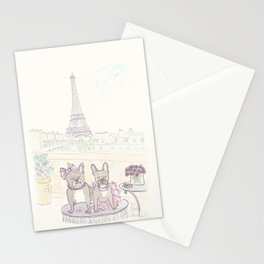 French Bulldogs and Tea in Paris with Eiffel Tower View Stationery Cards