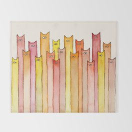 Cats Autumn Colors Pattern Whimsical Cat Orange Red Yellow Animals Throw Blanket