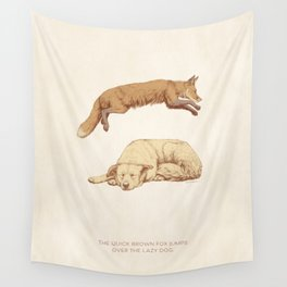 The quick brown fox jumps over the lazy dog Wall Tapestry