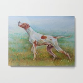 ENGLISH POINTER IN THE FIELD Classic hunting scene Landscape Metal Print