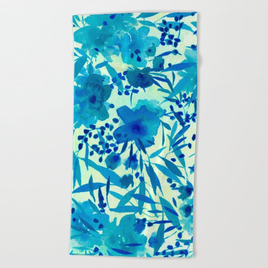 blue pretty flowers  https://society6.com/clemm?promo=X9B3VVZDM7J6 Beach Towel