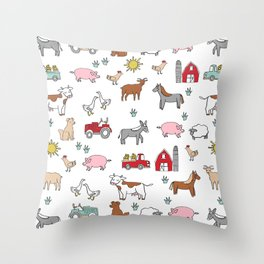 Farm animals nature sanctuary cow pig goats chickens kids gender neutral Throw Pillow